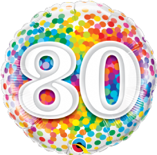 80th Birthday Confetti Design Foil Balloon